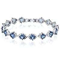 Classy & Elegant 12.00 carats total weight Princess Cut London Blue Topaz Gemstone Bracelet in Sterling Silver Rhodium Nickel Finish from Peora
