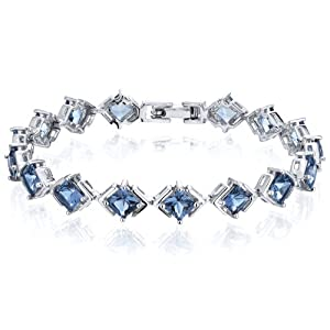 Classy & Elegant 12.00 carats total weight Princess Cut London Blue Topaz Gemstone Bracelet in Sterling Silver Rhodium Finish