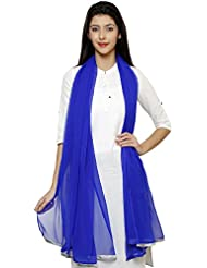 Royal Blue Chiffon Duppata With Classic Silver Border