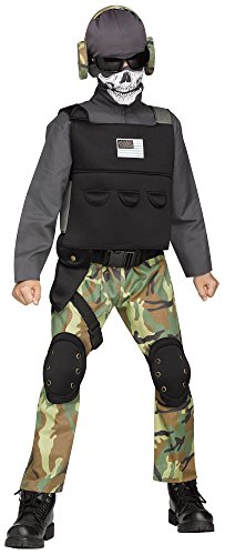Skull Solider Military SWAT Team Army Camouflage Halloween Child Boys Costume