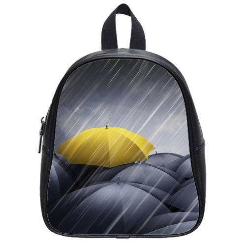 Anhome Rainny Day Yellow Umbrella Stand Out Many Black Umbrella Custom School Bag/Backpack front-1046788