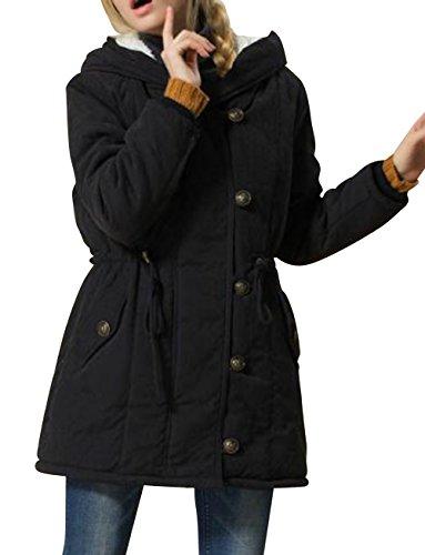 Nuoyan Women'S Cotton Hoodie Zipper Winter Coats 3Xl Black