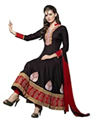 Women's Black & Red Cotton Embroidered Semi Stitched Suit