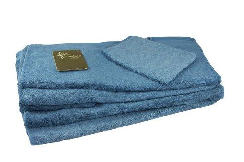 Santens-Asciugamano Bambou-Colori blu coloniale, colore Multicolore