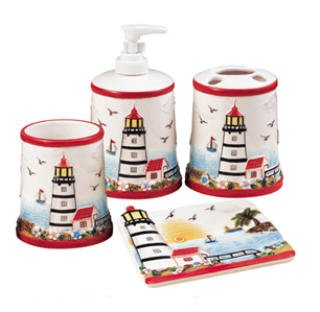 Light House 3-D Ceramic 4pc Bathroom Bath Accessories Set