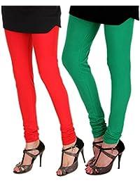 ITNOL Cotton Lycra Leggings (Pack Of 2): Red / Parrot Green
