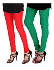 ITNOL Cotton Lycra Leggings (Pack Of 2): Red / Parrot Green
