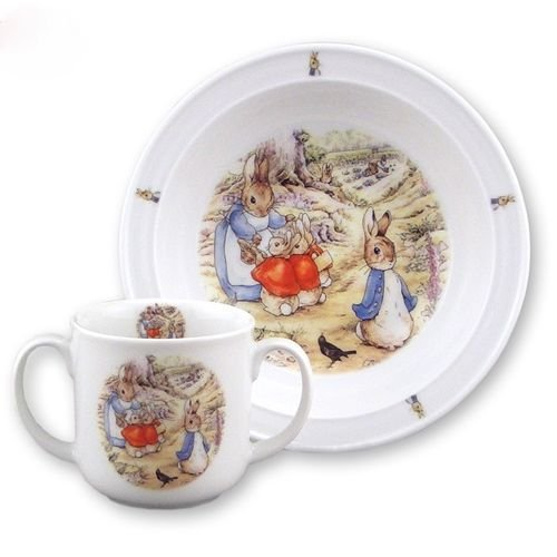 Reutter Porcelain Beatrix Potter Kids Toddler Set Mug & Bowl - 1