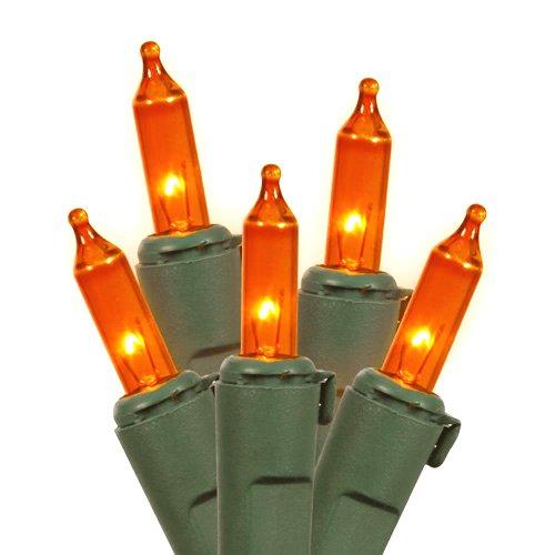 Set Of 100 Orange Led Mini Christmas Lights - Green Wire