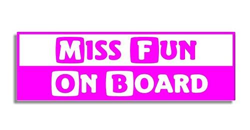 Miss Fun On Board - Car Bumper Sticker / Auto Aufkleber / Bedroom Door Sign Decal - Naughty Funny