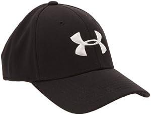 Mens Under Armour Armour Stretch Fit Cap, Black/White/Oxford , XL/XXL