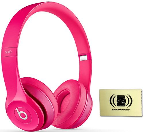 Beats By Dr. Dre Solo 2.0 On-Ear Headphones (Pink) Bundle With Zorro Sounds Custom Designed Polishing Cloth