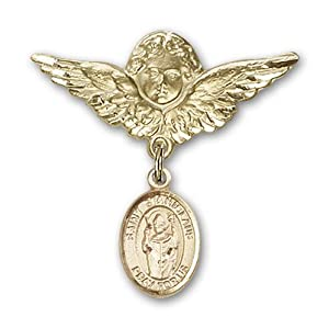 14K Gold Baby Badge with St. Stanislaus Charm and Angel with Wings Badge Pin