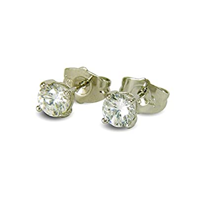 SMALL 5MM SIMULATED DIAMOND 18ct WHITE GOLD FILLED STUD EARRINGS 18K GF