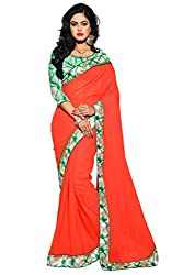 KRIZEL Orange Georgette Saree With Bhagalpuri Silk Blouse