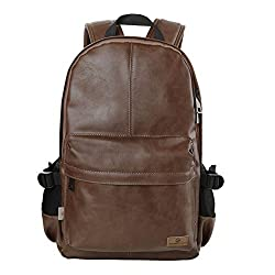 Koolertron Classic Casual PU Leather Vintage Fashion Unisex School Student Laptop Backpack For Camping Travel Fits Acer Aspire MacBook iPhone iPad and Samsung Tablet (Brown)