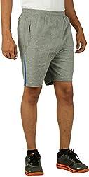 KANTER Men's Knitted Fabric Shorts (KSS-Gym-Grey-B_L, L, Grey)