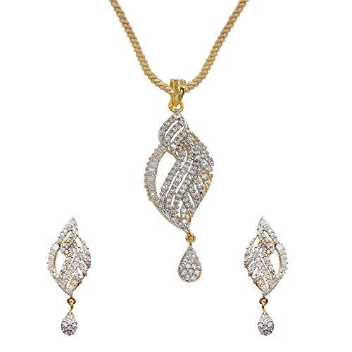Sheetal Jewellery Silver & Golden Brass & Alloy Pendant Set For Women - B00TIH0J7K