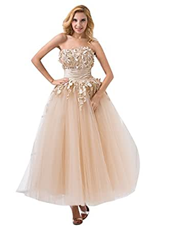 Amazon.com: Vampal Champagne Ankle Length Tulle Prom Dress