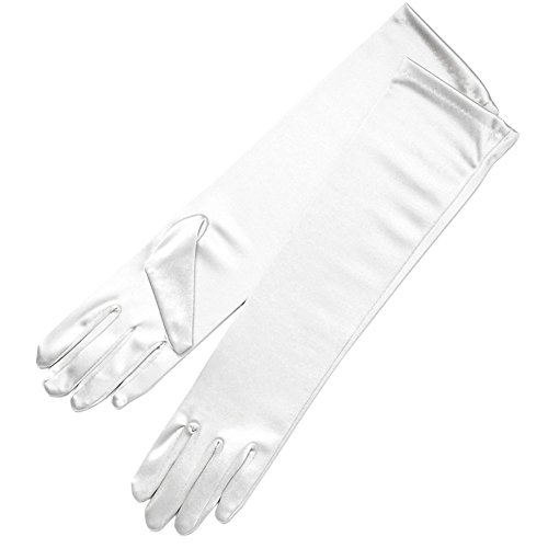 ZaZa Bridal Shiny Stretch Satin Dress Gloves Below-The-Elbow Length 8BL-White