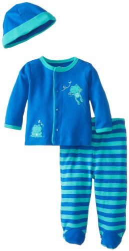 Little Me Baby-Boys Newborn Frog Hop Take Me Home Set, Blue Stripe, Newborn front-438554