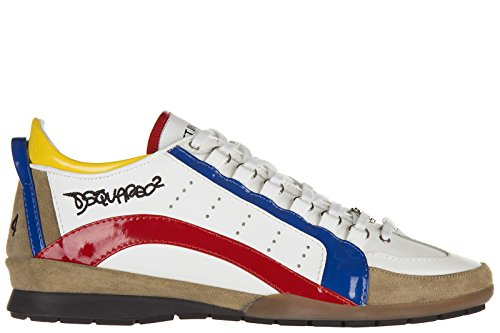 Dsquared2 Herrenschuhe Herren Leder Schuhe Sneakers Weiß EU 44 S12 SN551 VP10 4233 thumbnail