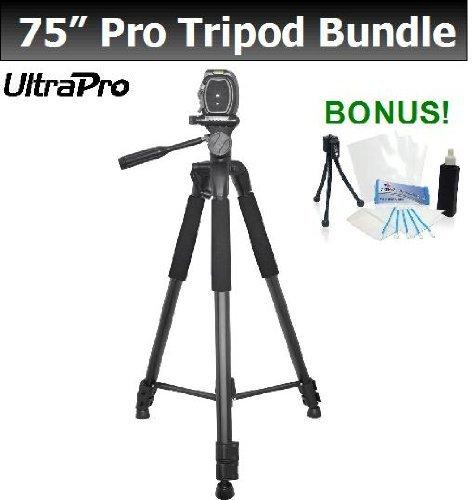 "Pro 75"" Photo / Video Tripod W/Quick Release Plate, Bubble Level, & More For The Jvc Gz-Hm960, Gz-E10, Gz-E200, Gz-Ex210, Gz-Ex250, Gz-Gx1 Everio Hd Camcorders. Ultrapro Bonus Bundle Included: Mini Travel Tripod, Lcd Screen Protector, Camera Cleaning Pack"