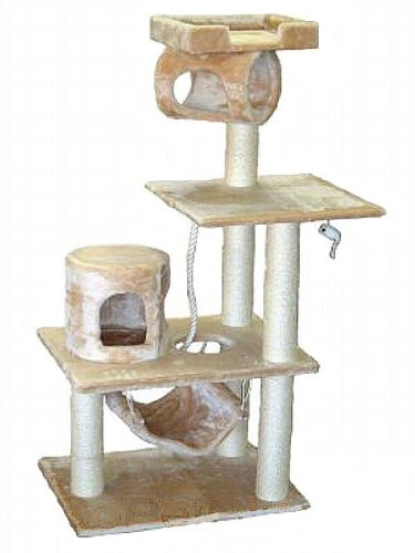 Cat Tree Condo House - 36W x 20L x 62H, Beige