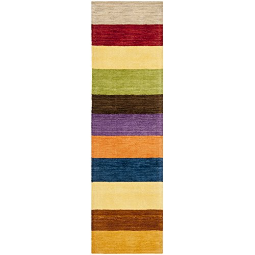 Safavieh Himalaya Collection HIM584A Handmade Yellow and Multi Wool Runner, 2 feet 3 inches by 8 feet (2'3
