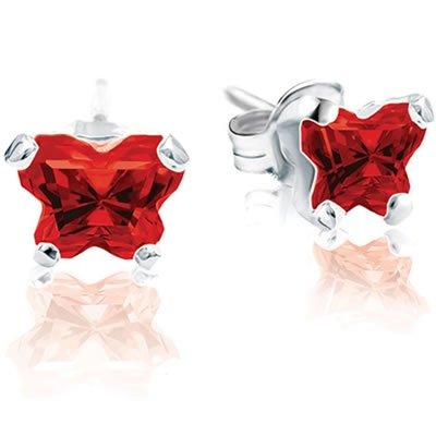 Jewelry Locker Bfly(tm) Sterling Silver and CZ January Birthstone Teen Earrings