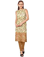 ZIYAA Multi Color Sleeveless And Boat Neck Faux Crepe Kurti