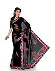 Designersareez Women Chiffon Embroidered Black Saree With Unstitched Blouse(1218)