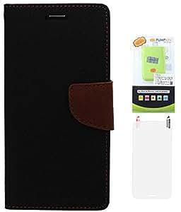 DMG Mercury Goospery Wallet Case for Samsung Galaxy Note 3 Neo N750 (Black-Brown) + 6600 mAh PowerBank + Matte Screen