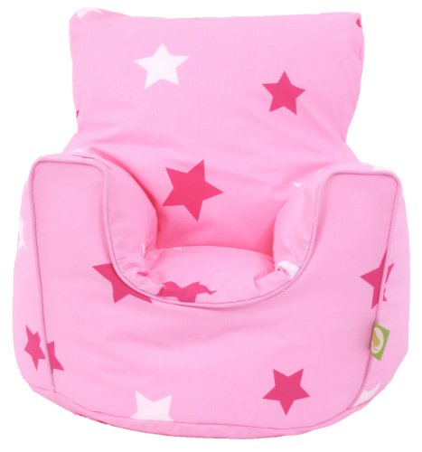 Cotton Pink Stars Bean Bag Arm Chair with Beans