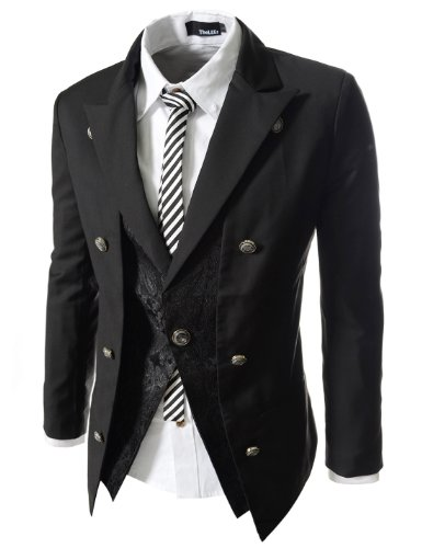 TheLees Mens Casual Double Breasted High neck Slim fit Short Blazer Jacket