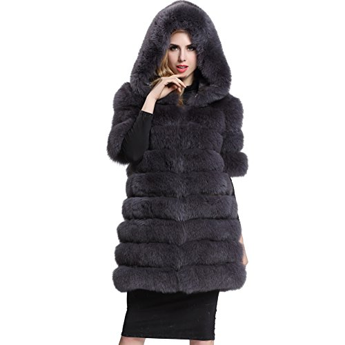 [Topfur Women's DarkGrey Whole Fox Fur Coat with Warm Hat Luxury Overcoat(US 14)] (Faux Chain Hooded Costumes)