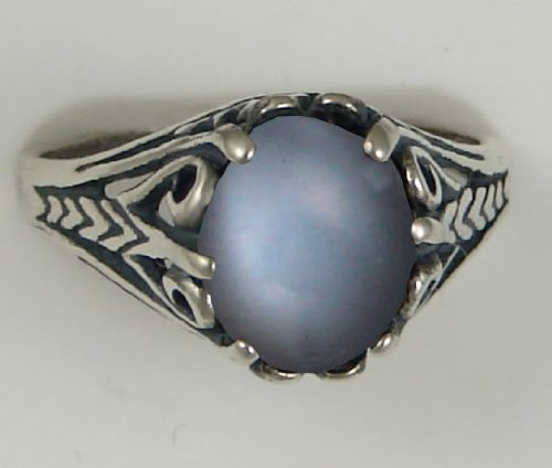 A Gorgeous Sterling Silver Filigree Ring Featuring a Beautiful Grey Moonstone Gemstone