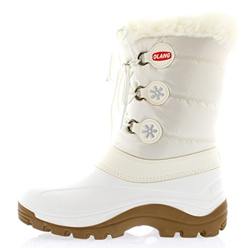 Womens Olang Patty Warm Winter Lace Up Faux Fur Snow Rain Ankle Boots aphixta women winter boots flat with warm platform snow ankle boots women shoes round toe female fur butterfly knot botas mujer