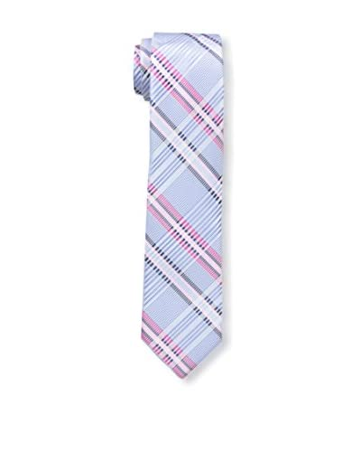 Zenio Men's Pastel Plaid Skinny Tie, Blue