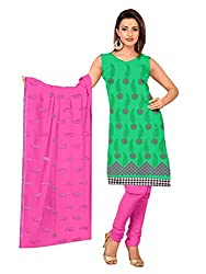 Parinaaz Fashion Green Cotton Straight unstitched salwar suit