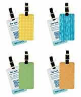 GoCodes Smart QR Bar Code Luggage Tag - Color (4) Pack - Internet Ready - GPS Enabled