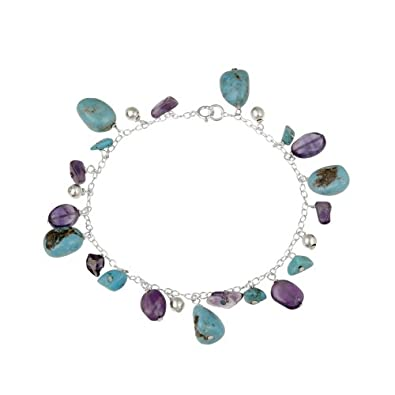 Sterling Silver Bracelet with Turquoise, Amethyst and Sterling Silver Bead Drops, 7.5
