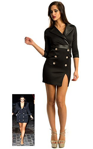 Ikrush Womens Ladies Girls Black Military Cheap Button Retro Dress