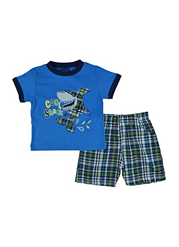 Alfa Global Baby Boy'S Infant Cool Shark Printed Shirt And Short 2 Pcs. Set Blue 18 Months front-354053