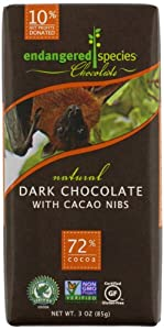 Endangered Species Bat, Natural Dark Chocolate (72%) with Cacao Nibs, 3-Ounce Bars (Pack of 12)