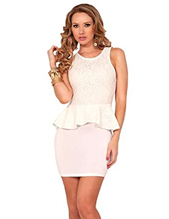 Lay Scoop Neck Peplum Evening Cocktail Mini Short Dress: Clothing