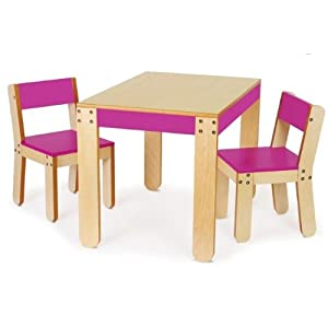 P'kolino Little One's Table and Chairs, Fuchsia from p'kolino
