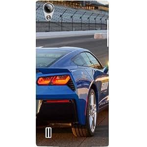 Casotec Car on Racing Track Design Hard Back Case Cover for VIVO Y15