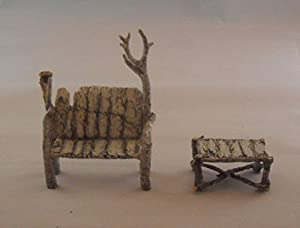 Department 56 North Pole Woods Village Accessories Birch Bench and Table Set Set of 2