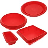 Red Silicone Bake Set - 4 Nonstick Silicone Bakeware - Round, Square, and Rectangular Shaped Loaf Pie Casserole Pan